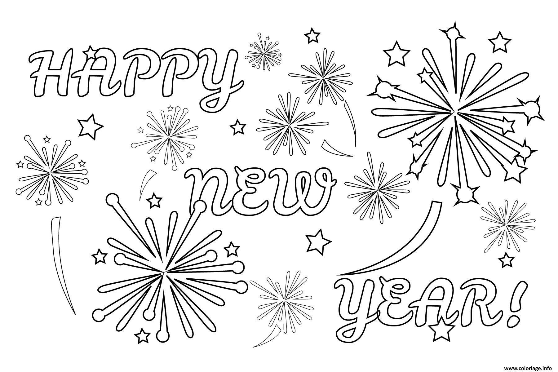 Coloriage Happy New Year Fireworks