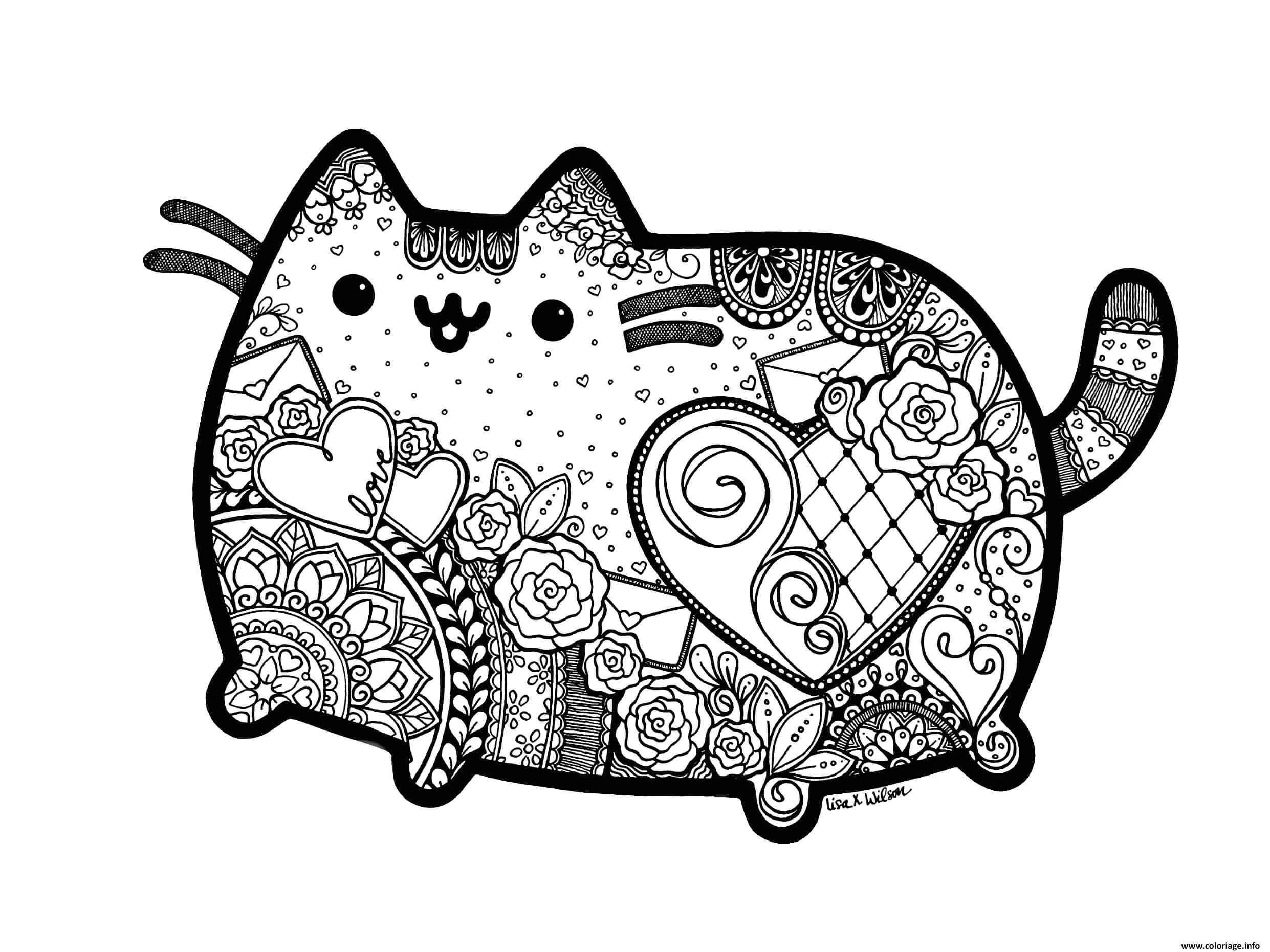 Coloriage Pusheen The Cat Adult Inspired Zentangle With