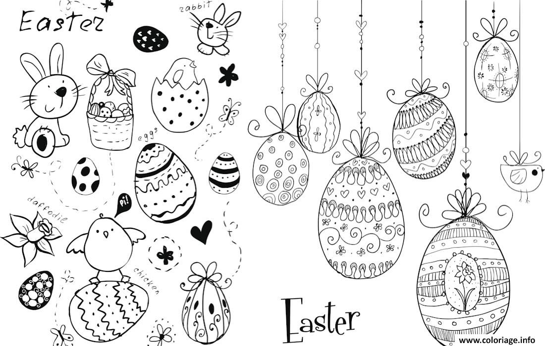 Coloriage Easter Doodles Paques Oeufs Lapins Dessin