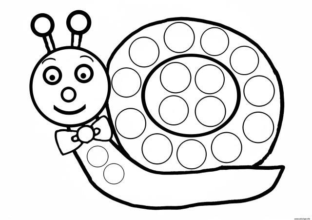 Coloriage Escargot A Gommette Enfant Dessin Escargot à imprimer