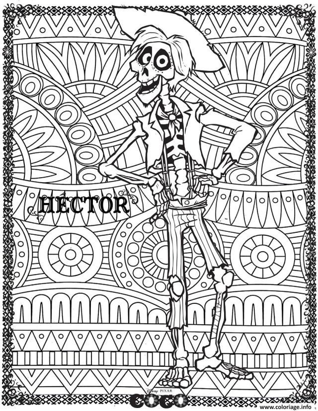 Coloriage Hector Fond Mandala Disney Coco Dessin Coco Disney à