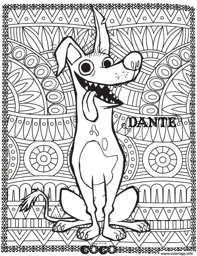 Coloriage Disney Coco Dante Fond Mandala Adulte Dessin Coco Disney