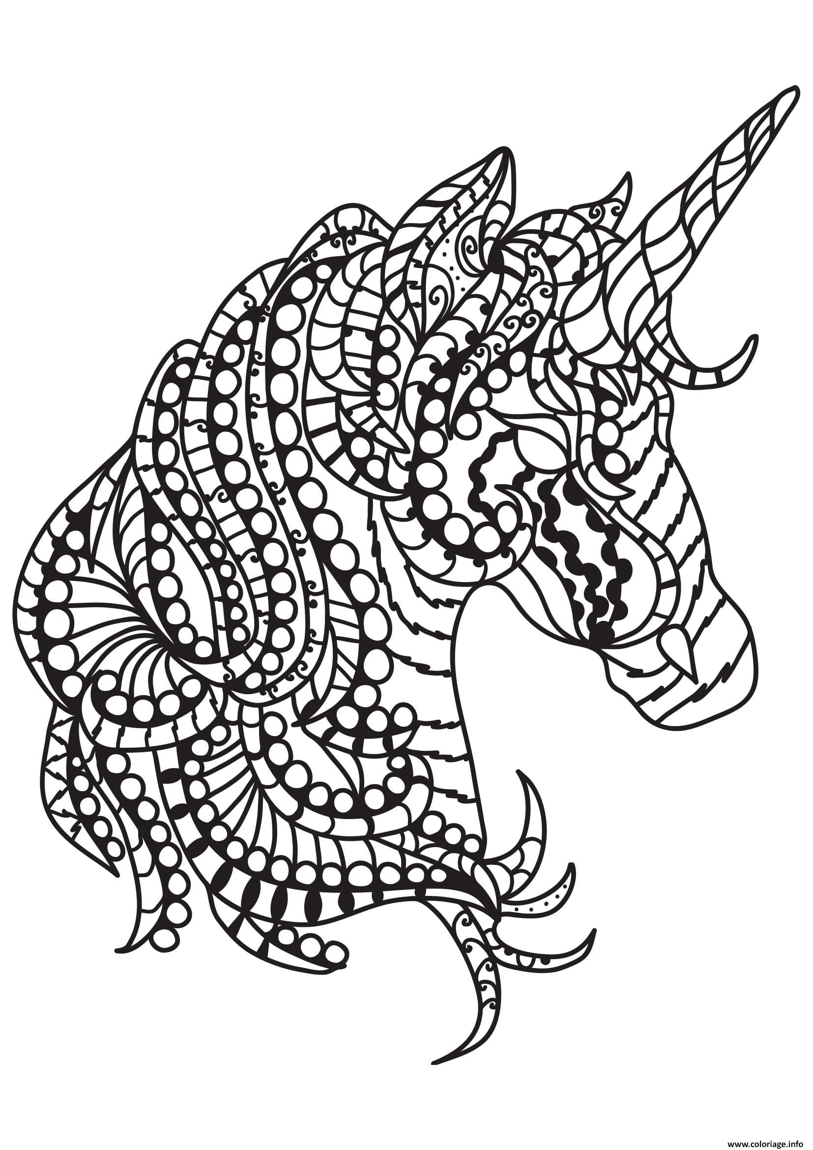 Coloriage Cheval Cheval Motifs Zentangle Simples Chevaux Colori