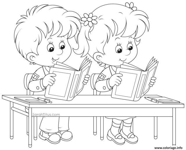 Coloriage Ecoliers Retour Ecole Enfants Dessin Ecole à imprimer