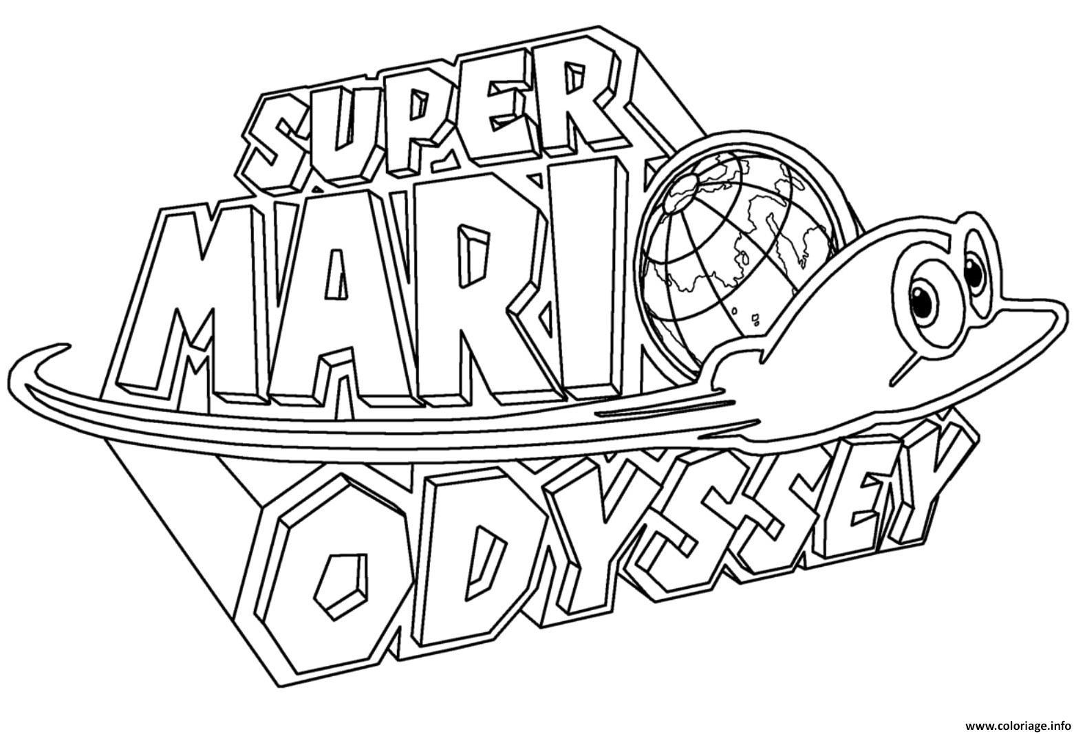 Coloriage Super Mario Odyssey Logo Nintendo