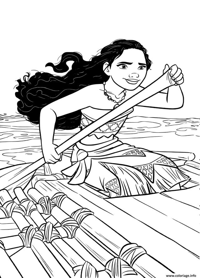 Coloriage Vaiana Sur La Mer Avec Un Kayak Dessin Vaiana Moana à