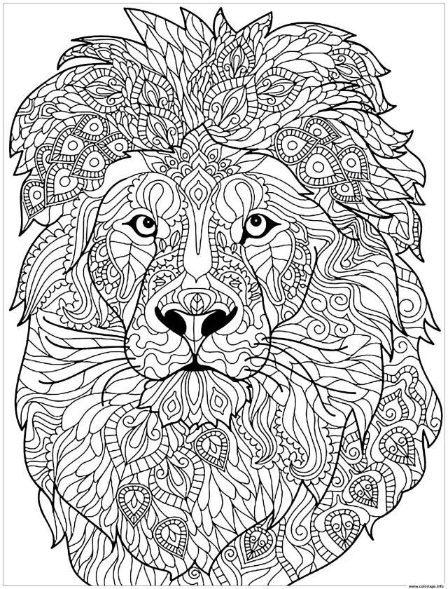 Coloriage Adulte Lion Motifs Complexes Dessin Lion à imprimer