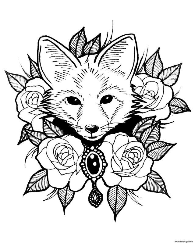 Coloriage Renard Et Roses Style Tatouage Dessin Renard à imprimer