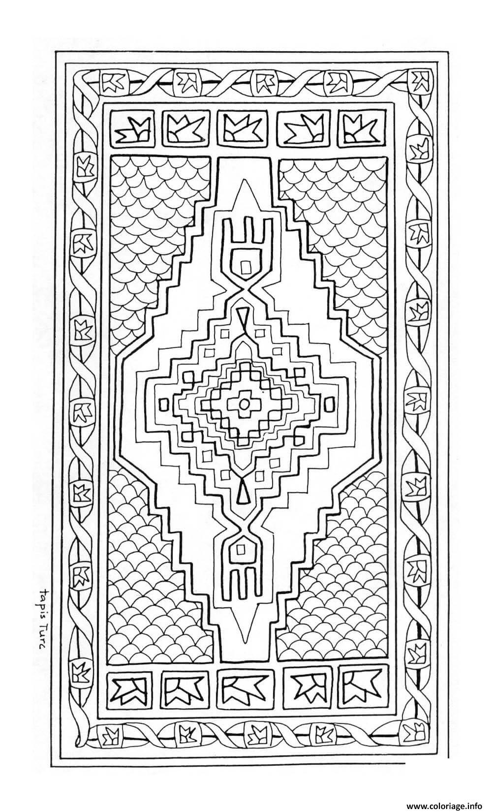 coloriage mandala tapis turc joeke