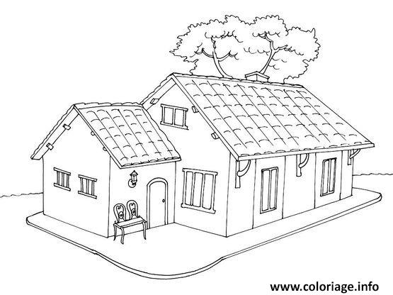 Coloriage Maison Moderne Avec Arbre Dessin Maison A Imprimer