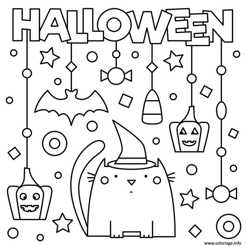 Coloriage Joyeuse Halloween Avec Chat Citrouille Et
