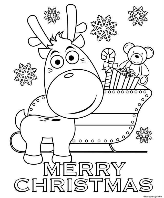 Coloriage Joyeux Noel Par Le Renne Au Nez Rouge Dessin Noel à imprimer
