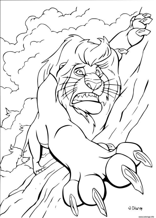 Coloriage Mufasa De Disney Entrain De Tomber Dessin Roi Lion à