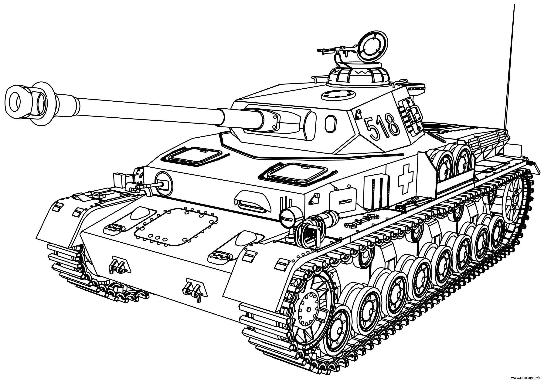 Coloriage Tank Vehicule Militaire Dessin