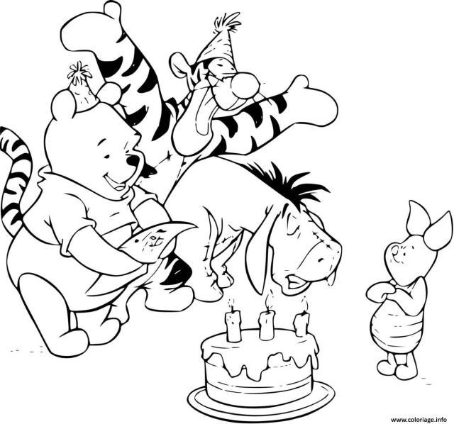 Coloriage Anniversaire De Porcinet Qui Celebre Avec Winnie Tigrou