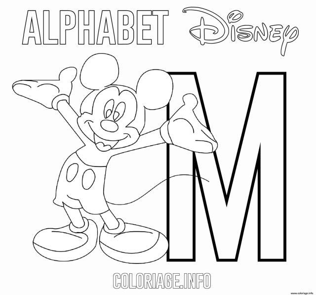 Coloriage Lettre M Pour Mickey Mouse Disney Dessin Alphabet Disney