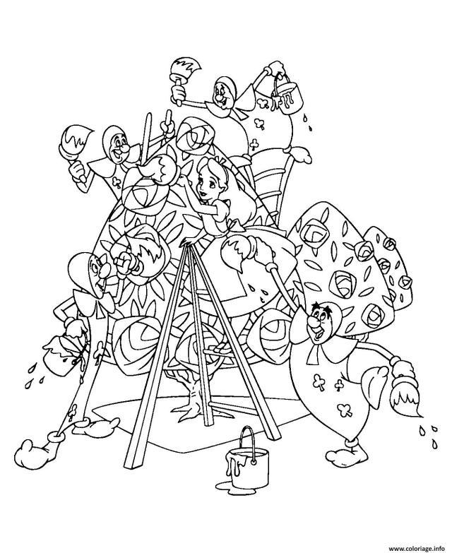 Coloriage Alice Aux Pays Des Merveilles Dessin Disney Walt à imprimer