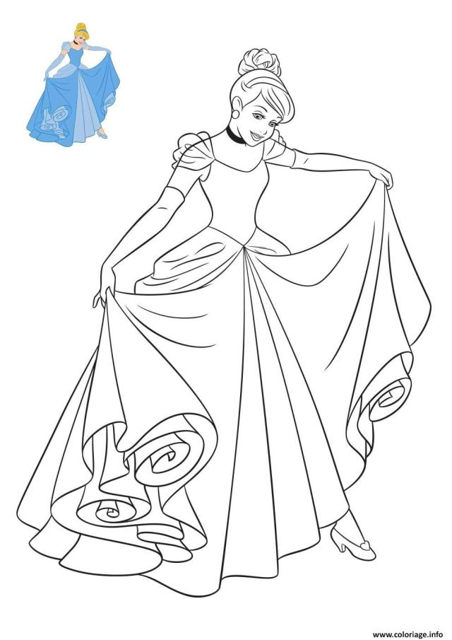 Coloriage Cendrillon Princesse Disney Dessin Disney Walt à imprimer