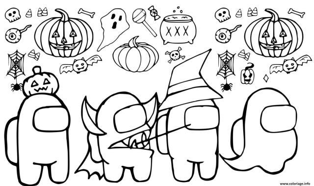 Coloriage Among Us Halloween Dessin Among Us à imprimer