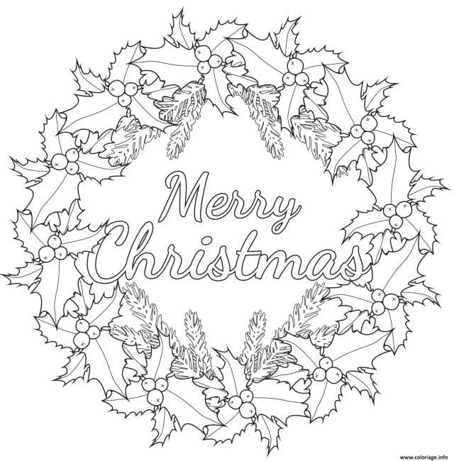 Coloriage Couronne De Noel Joyeux Noel Dessin Noel Adulte à imprimer