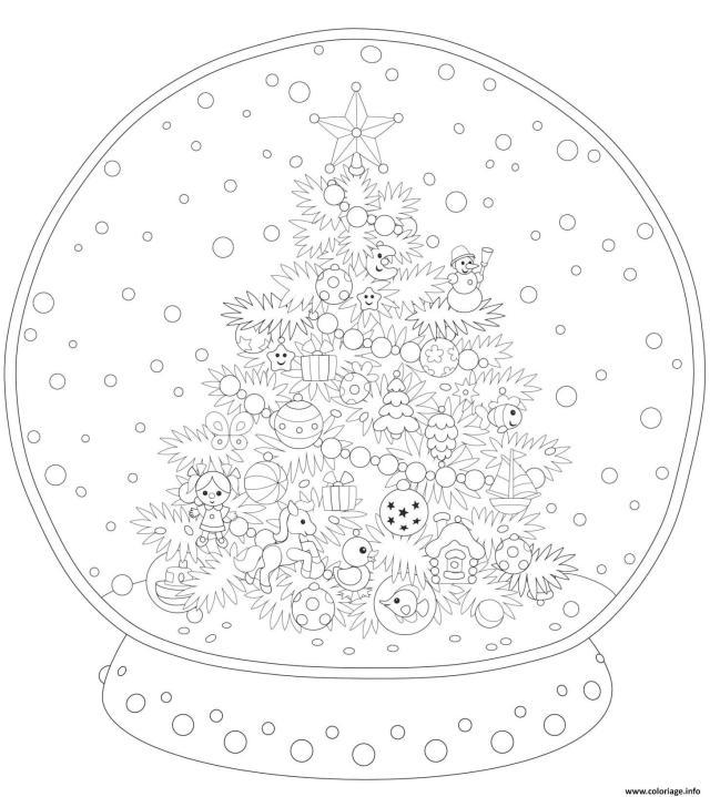 Coloriage Boule De Neige Deco Avec Sapin Pour Adulte Dessin Noel