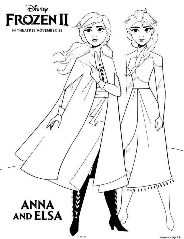 Coloriage Reine Des Neiges 25 Anna Et Elsa Film Disney Dessin La