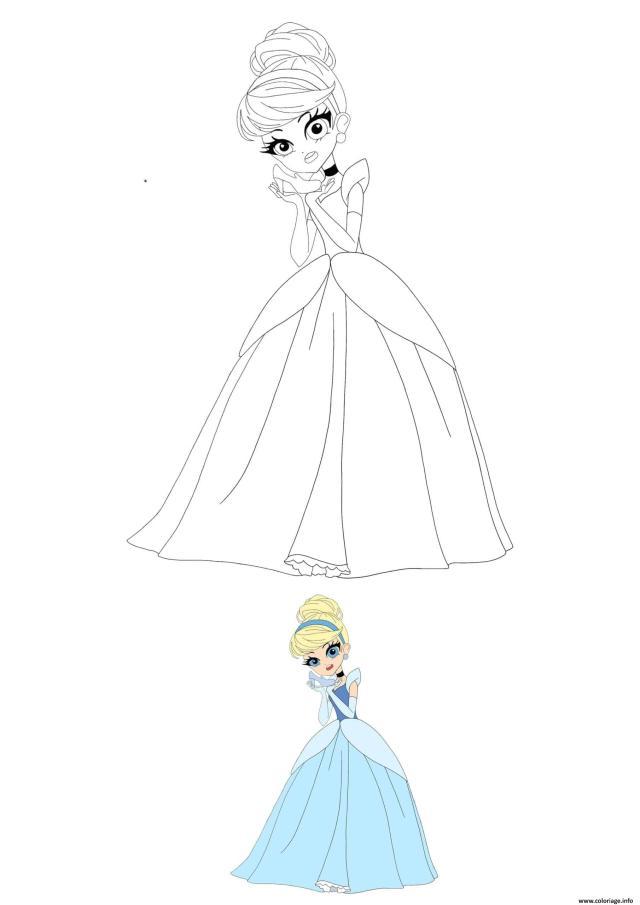 Coloriage Anime Disney Princesse Cinderella Dessin Princesse à