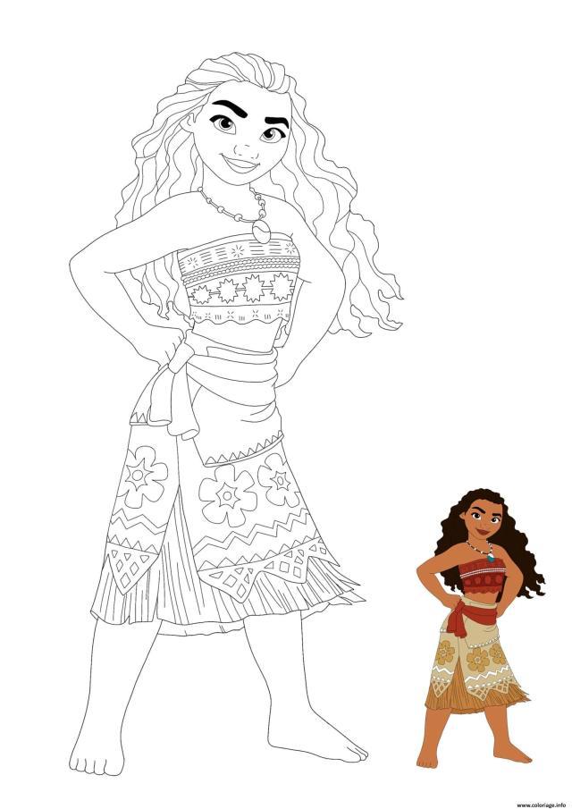 Coloriage Princesse Moana Dessin Princesse à imprimer