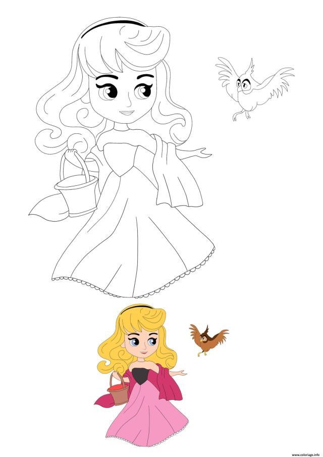 Coloriage Disney Princesse Aurora With Bird Dessin Princesse à