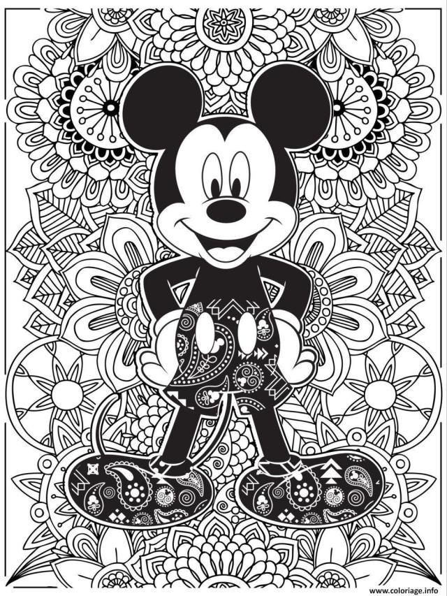 Coloriage disney adulte mcieky mouse - JeColorie.com