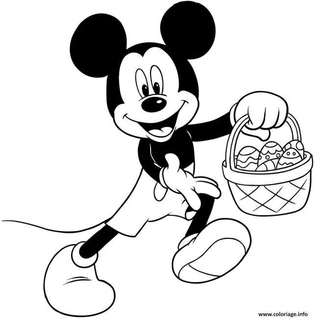 Coloriage Panier De Oeufs De Paques Mickey Disney Dessin Paques