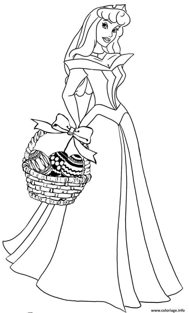 Coloriage Cendrillon Princesse Oeufs Paques Disney Dessin Paques