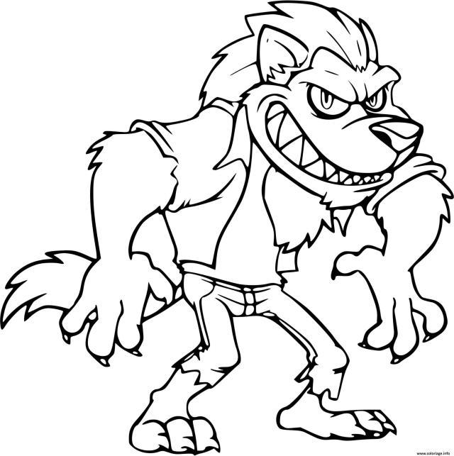 Coloriage Grand Mechant Loup Avec Les Dents Dessin Loup à imprimer