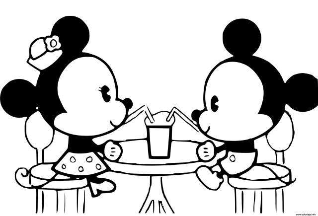 Coloriage mikey et minnie bebes - JeColorie.com