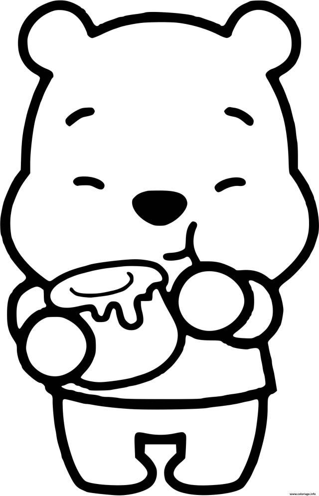 Coloriage Winnie Ourson Kawaii Dessin Disney Bebe à imprimer