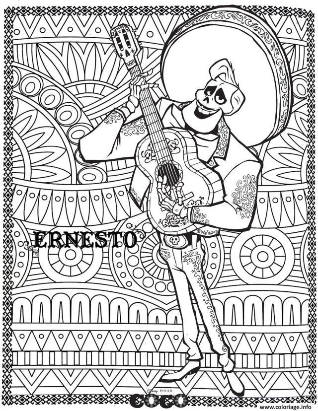Coloriage Disney Coco Ernesto Fond Mandala Adulte Dessin Mandala