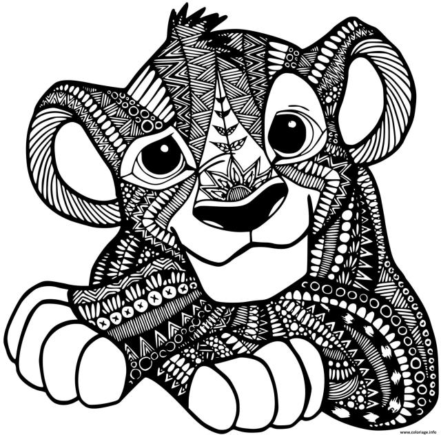 Coloriage Roi Lion Simba Mandala Disney Dessin Mandala Disney à