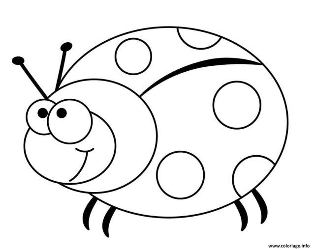 Coloriage Coccinelle Insecte Rouge Et Noir Dessin Coccinelle à