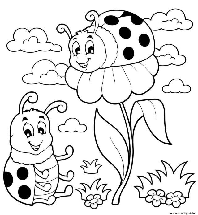 Coloriage Coccinelle Et Fleurs Facile Maternelle Dessin Coccinelle