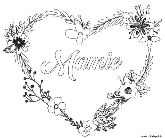 Coloriage Coeur Fleurs Fete Des Mamies Dessin Fete Des Grands