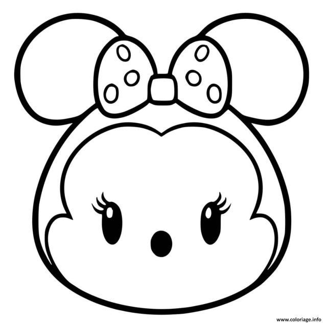 Coloriage Tete Kawaii De Minnie Mouse Dessin Disney Walt à imprimer