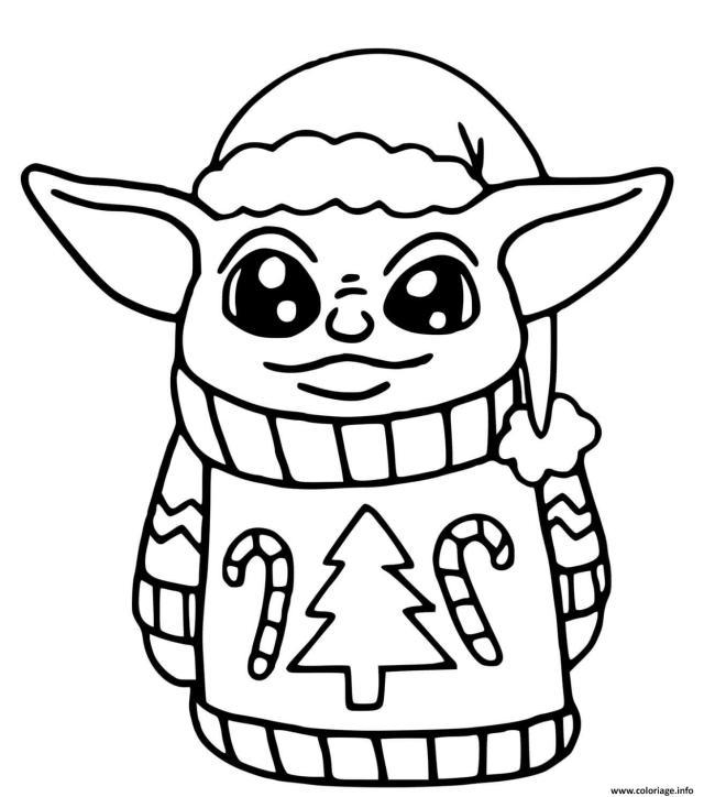 Coloriage Baby Yoda Noel Dessin Bebe Yoda à imprimer