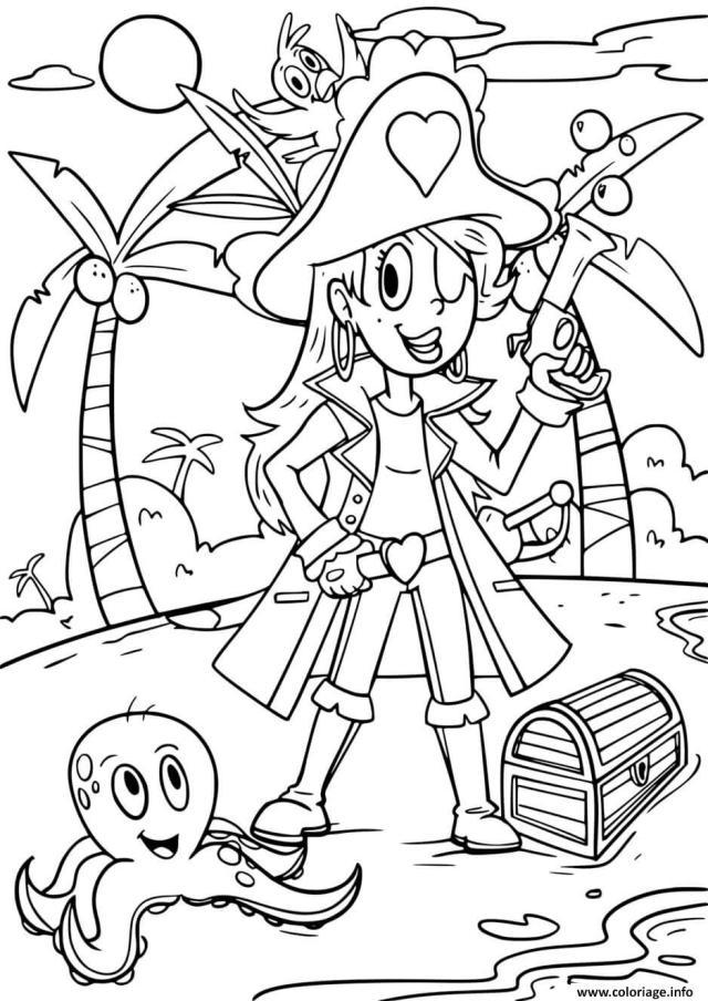 Coloriage Pirate Fille Dessin Pirate à imprimer