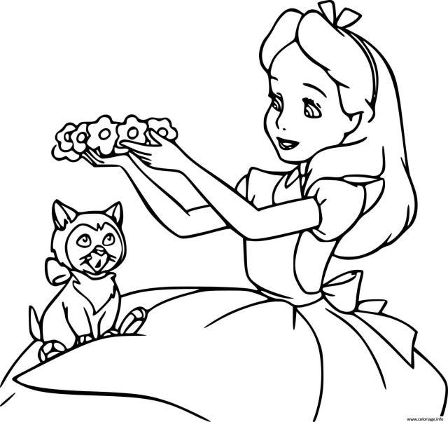 Coloriage Alice Et Le Chat Dessin Alice Au Pays Des Merveilles à