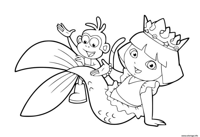 Coloriage Dora Exploratrice La Sirene Avec Babouche Dessin Dora à