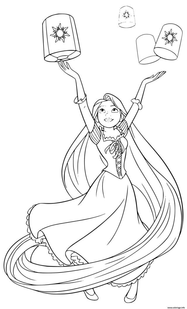 Coloriage Princesse Lance Les Lanternes Dans Le Ciel Dessin