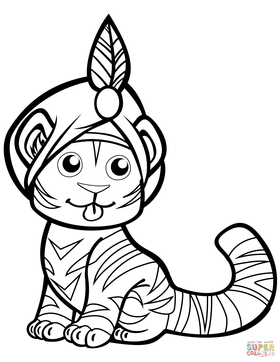 Cute Tiger In Cap Coloring Page