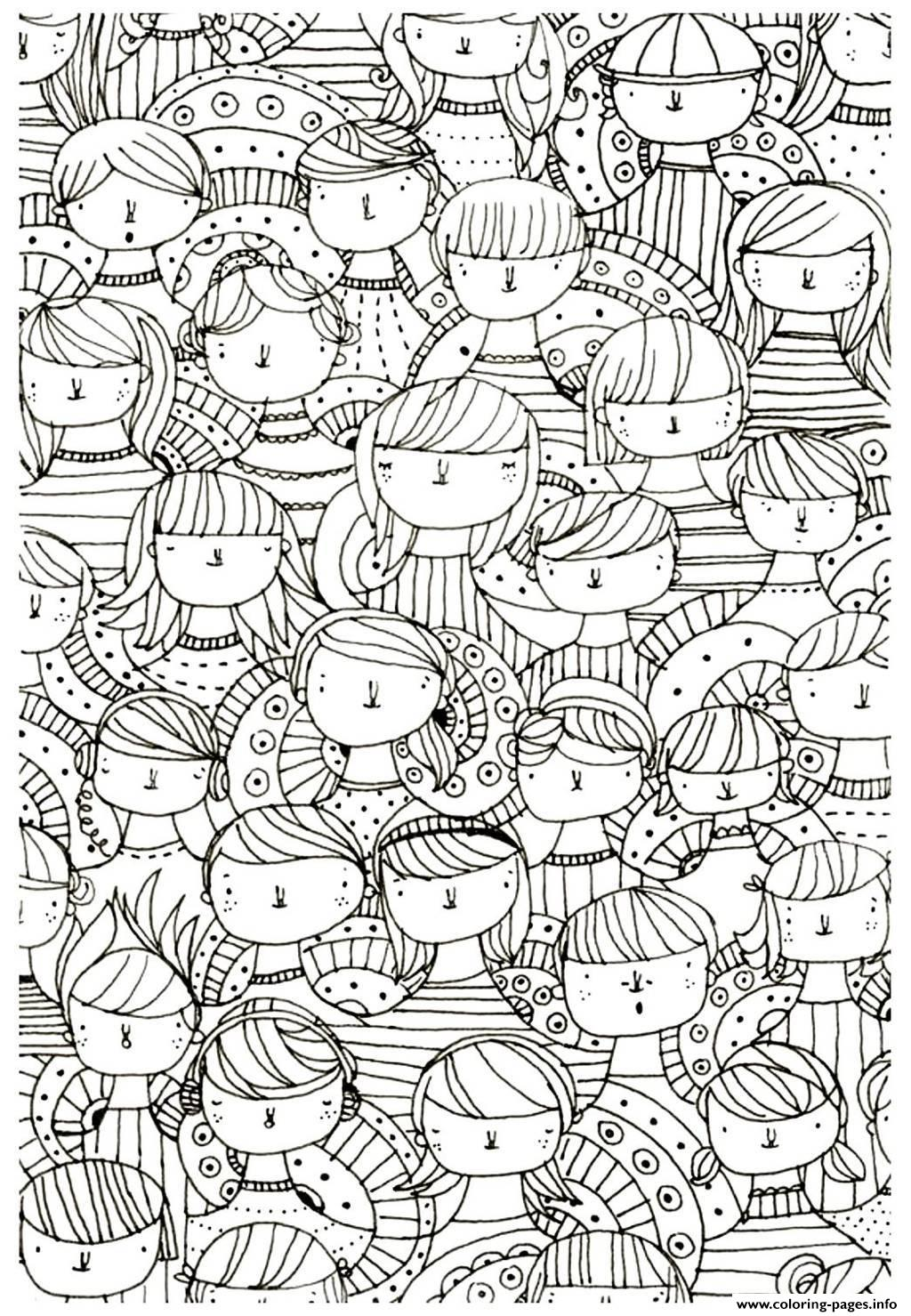 Adult Faces Zen Anti Stress To Print Coloring Pages Printable
