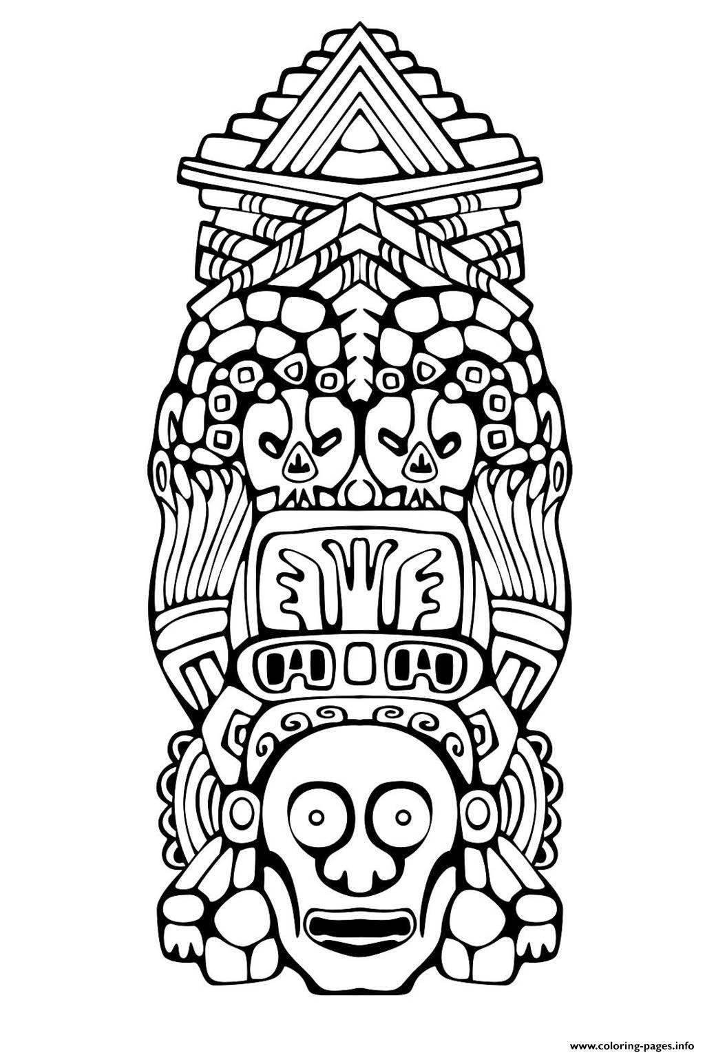 Adult Totem Inspiration Inca Mayan Aztec 3 Coloring Pages