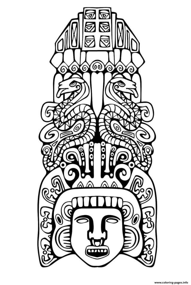 Adult Totem Inspiration Inca Mayan Aztec 26 Coloring Pages Printable